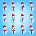 Snowmen smilies set twelve emotions Royalty Free Stock Photography