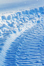 Snowmobile track on snow Royalty Free Stock Images