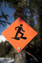 Snowshoe trail sign Stock Images