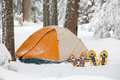 Snowshoes left in front of orange tent in forest Royalty Free Stock Photo