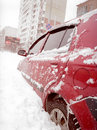 After snowstorm in the city kyiv with cars buried snow Stock Images