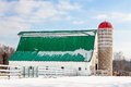 Snowy Barn and Silo Royalty Free Stock Photo
