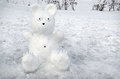 Snowy Bear On Background Of Snow