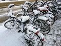 Snowy bikes Royalty Free Stock Photo