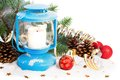 Snowy blue lantern and Christmas balls Royalty Free Stock Photo