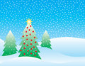 Snowy Christmas Scene Royalty Free Stock Photography