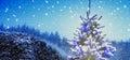 Snowy Christmas Tree With Ligh...