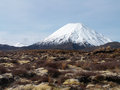 Snowy conical mountain a on the tongariro crossing new zealand Royalty Free Stock Photography
