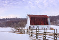 Snowy Field with Barn in Virginia Piedmont Royalty Free Stock Photo