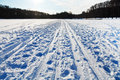 Snowy field in cold winter day sunny Royalty Free Stock Photo