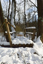 Snowy footbridge over the river Royalty Free Stock Photo