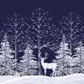Snowy forest silhouettes of trees and fir trees in the and reindeer on a dark blue background Royalty Free Stock Photos