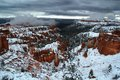 Snowy hoodoos at bryce fresh snow on the red rock canyon national park Royalty Free Stock Photography