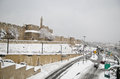 Snowy Jerusalem walls Royalty Free Stock Photos