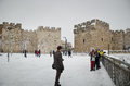 Snowy Jerusalem winter time Royalty Free Stock Photos