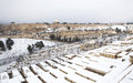 Snowy jerusalem winter time neighborhood and forest after a snow storm Royalty Free Stock Image