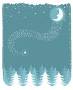 Snowy landscape with nice moon and forest vector c christmas card for design Royalty Free Stock Image