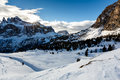 Snowy Mountains on the Skiing Resort of Colfosco Royalty Free Stock Photography