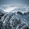 Snowy mountains in the swiss alps view from mount titlis switzerland Stock Photo