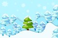 Snowy pine tree vector illustration of in hilly landscape Royalty Free Stock Image