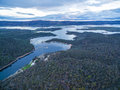 Snowy River and Lake Jindabyne aerial view. New South Wales, Aus Royalty Free Stock Photo