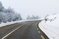 Snowy road mountain with white snow Stock Photo