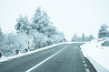 Snowy road mountain with white snow Royalty Free Stock Image