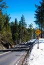 Snowy road to Yosemite Valley