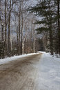 Snowy Road through the Woods Royalty Free Stock Image