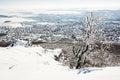 Snowy rocks and winter landscape