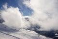 Snowy ski slope in lenk adelboden svizzera Fotografia Stock