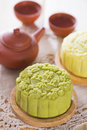 Snowy skin green tea paste mooncake mooncakes traditional chinese mid autumn festival food and set the chinese words on the Royalty Free Stock Photo