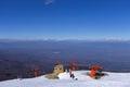 Snowy slope in 3-5 Pigadia ski center, Naoussa, Greece Royalty Free Stock Photo