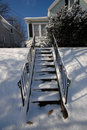 Snowy stairs Royalty Free Stock Images