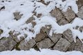 Snowy stone wall Royalty Free Stock Photo