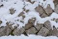 Snowy stone wall Royalty Free Stock Photo