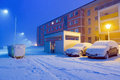 Snowy street at winter in poland Royalty Free Stock Photography
