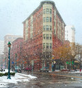 Snowy syracuse heavy snow falls on the streets of downtown new york Royalty Free Stock Images