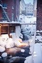 Snowy urban waterfall Stock Photography
