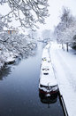 Snowy view of the kennet and avon canal in bath england Stock Images