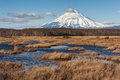 Snowy vulcan on kamchatka russia far east bog and Stock Photo
