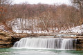 Snowy waterfall scene indiana s lower cataract falls Stock Photos