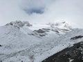 Snowy weather on way to Thorong La Pass, Nepal Royalty Free Stock Photo