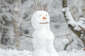 Snowy white snowman with carrot nose in winter Christmas outdoor background Royalty Free Stock Photo