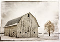 Snowy winter barn snow scene with an old historic ohio covered with snow Royalty Free Stock Photos