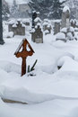 Snowy winter cemetery hungary Royalty Free Stock Photography