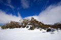 Snowy winter landscape a cold in mountains australia Stock Images