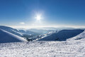 Snowy winter mountains at nice sun day in Carpathians, Dragobrat, Ukraine Royalty Free Stock Photo