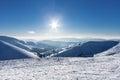 Snowy winter mountains at nice sun day in Carpathians, Dragobrat, Ukraine Royalty Free Stock Photo