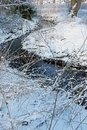 A snowy winter scene by a river Royalty Free Stock Photo